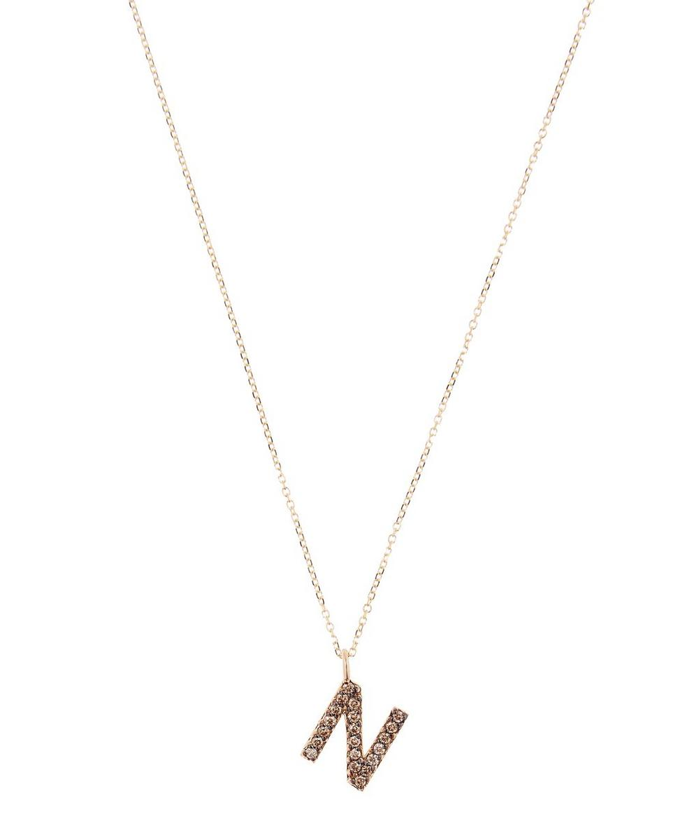 KC DESIGNS YELLOW GOLD CHAMPAGNE DIAMOND LETTER N NECKLACE