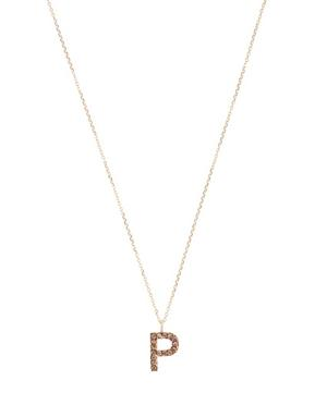 Yellow Gold Champagne Diamond Letter P Necklace