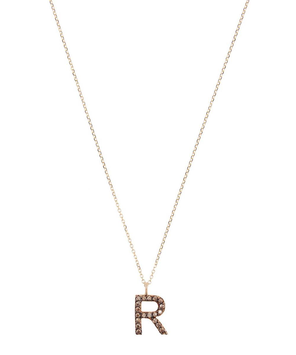 Yellow Gold Champagne Diamond Letter R Necklace