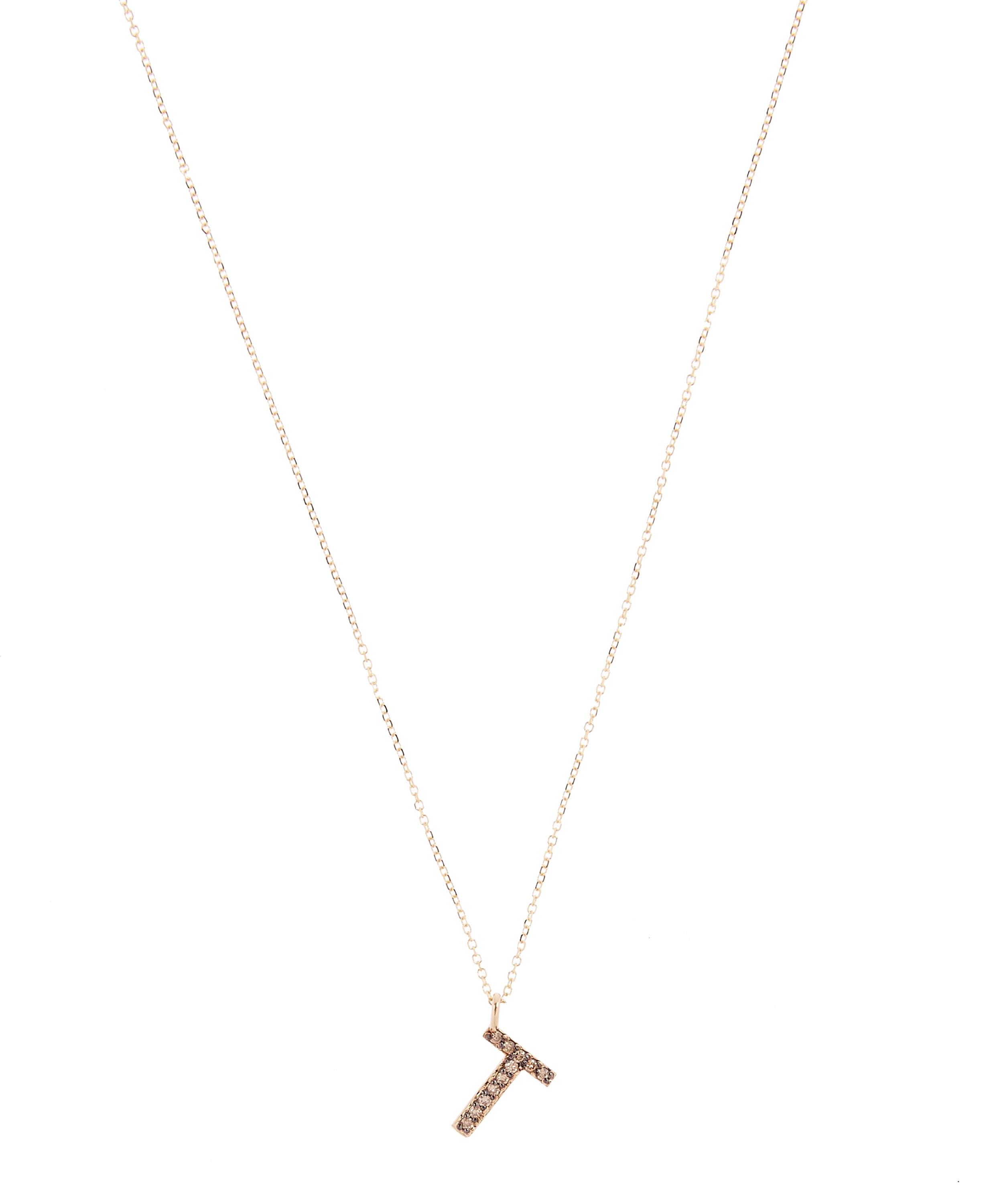 yellow gold champagne diamond letter t necklace
