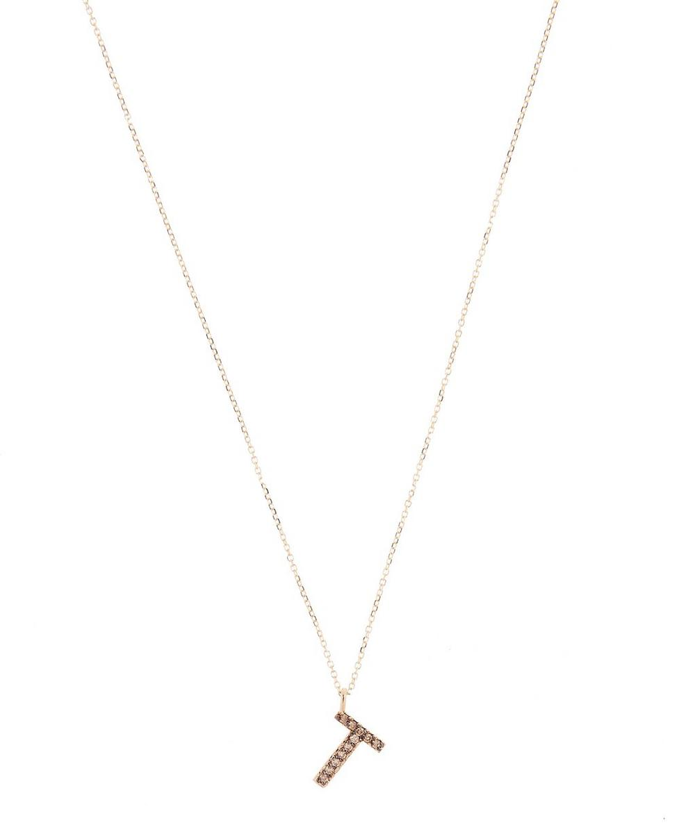 KC DESIGNS YELLOW GOLD CHAMPAGNE DIAMOND LETTER T NECKLACE