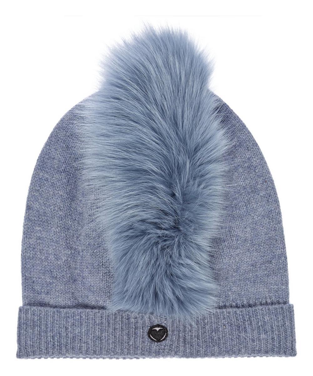 CHARLOTTE SIMONE Mo Mohawk Faux Fur Cashmere Beanie Hat in Blue