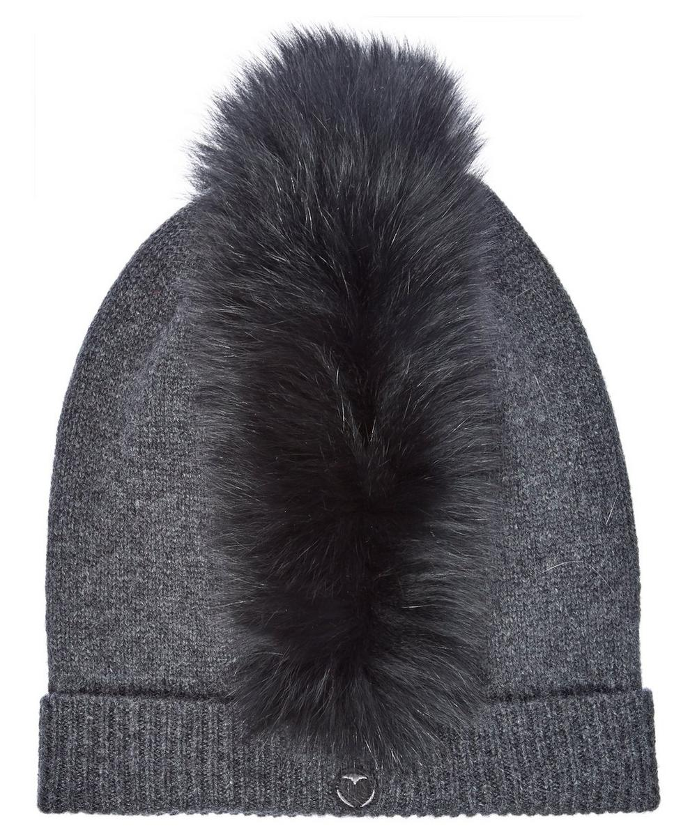 Mo Mohawk Cashmere Beanie With Genuine Fox Fur Trim - Grey