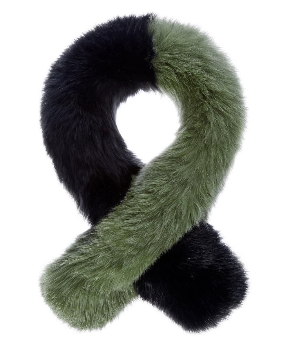 CHARLOTTE SIMONE Polly Pop Color-Block Fox-Fur Scarf in Khaki