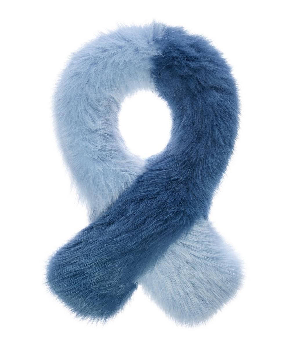 CHARLOTTE SIMONE Polly Pop Color-Block Fox-Fur Scarf in Blue