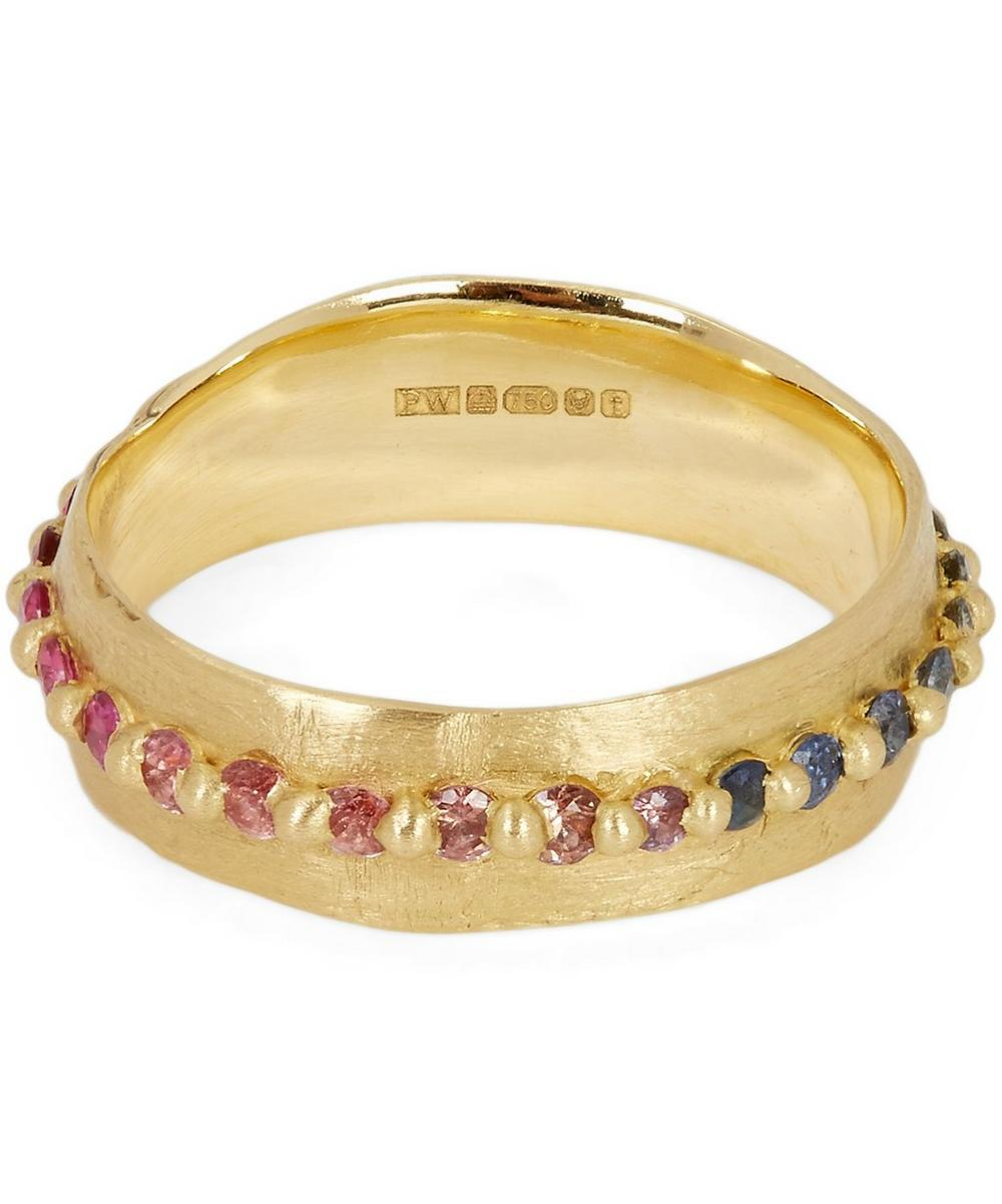 POLLY WALES Gold Rainbow Sapphire Pinched Eternity Ring