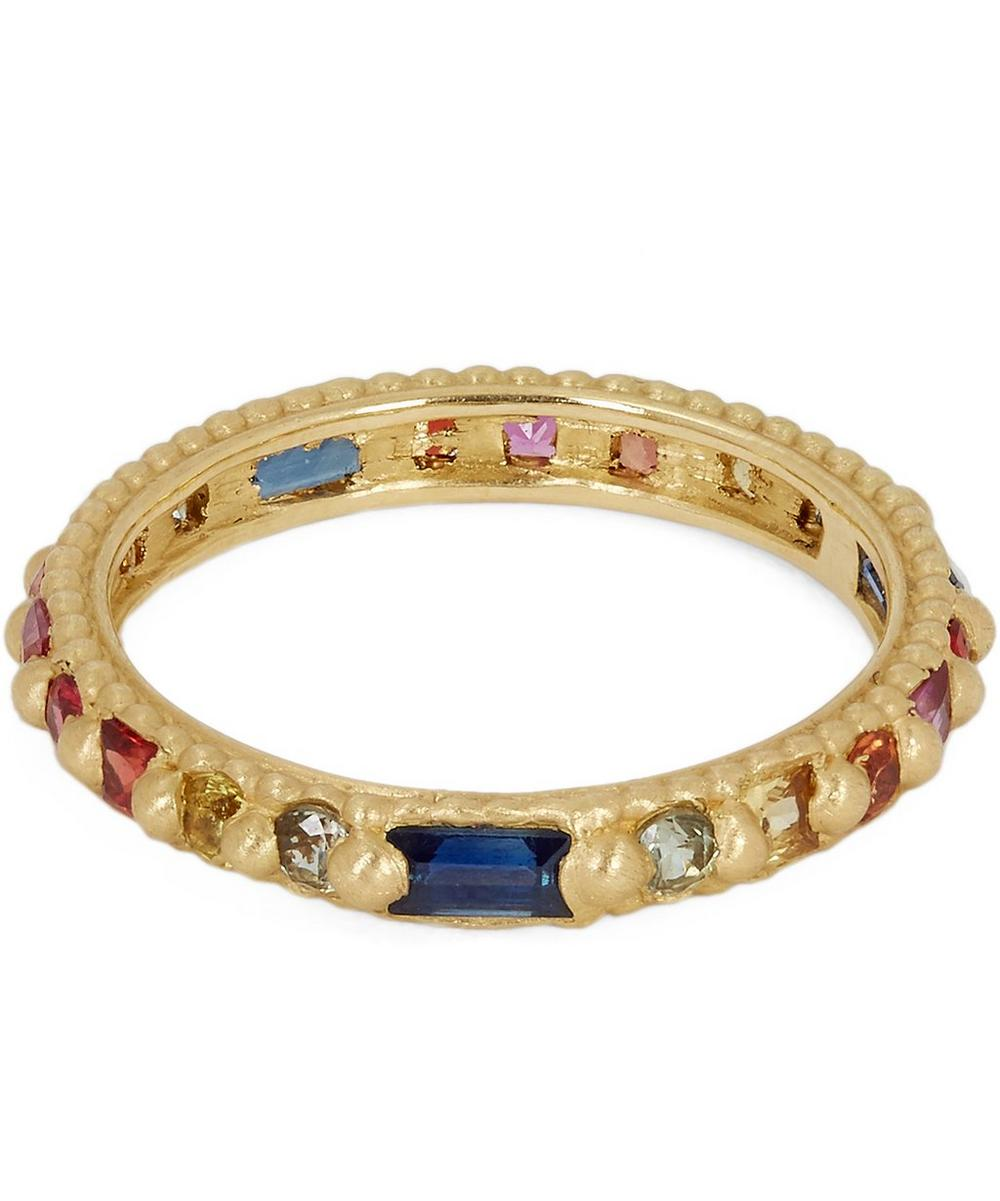 POLLY WALES Gold Rapunzel Harlequin Rainbow Sapphire Ring