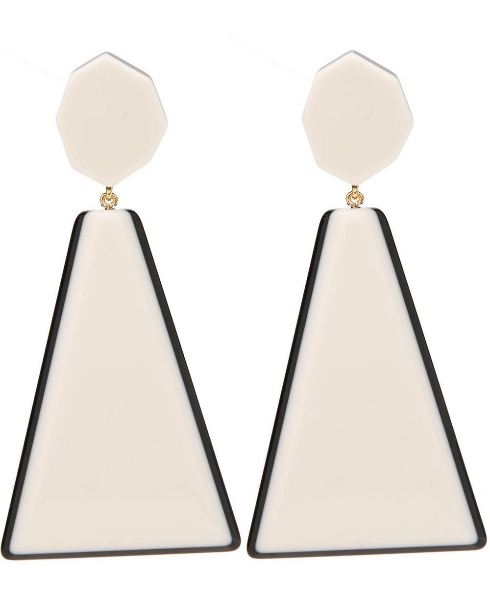 DIANA BROUSSARD Maxi Quadro Drop Earrings in White, Black