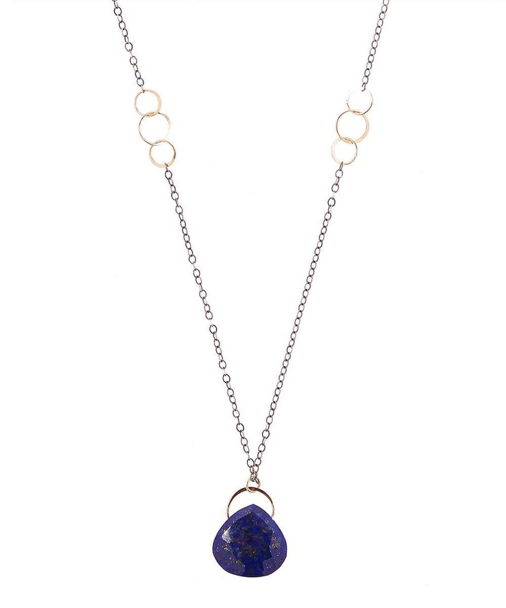 MELISSA JOY MANNING RECYCLED STERLING SILVER LAPIS SINGLE DROP NECKLACE