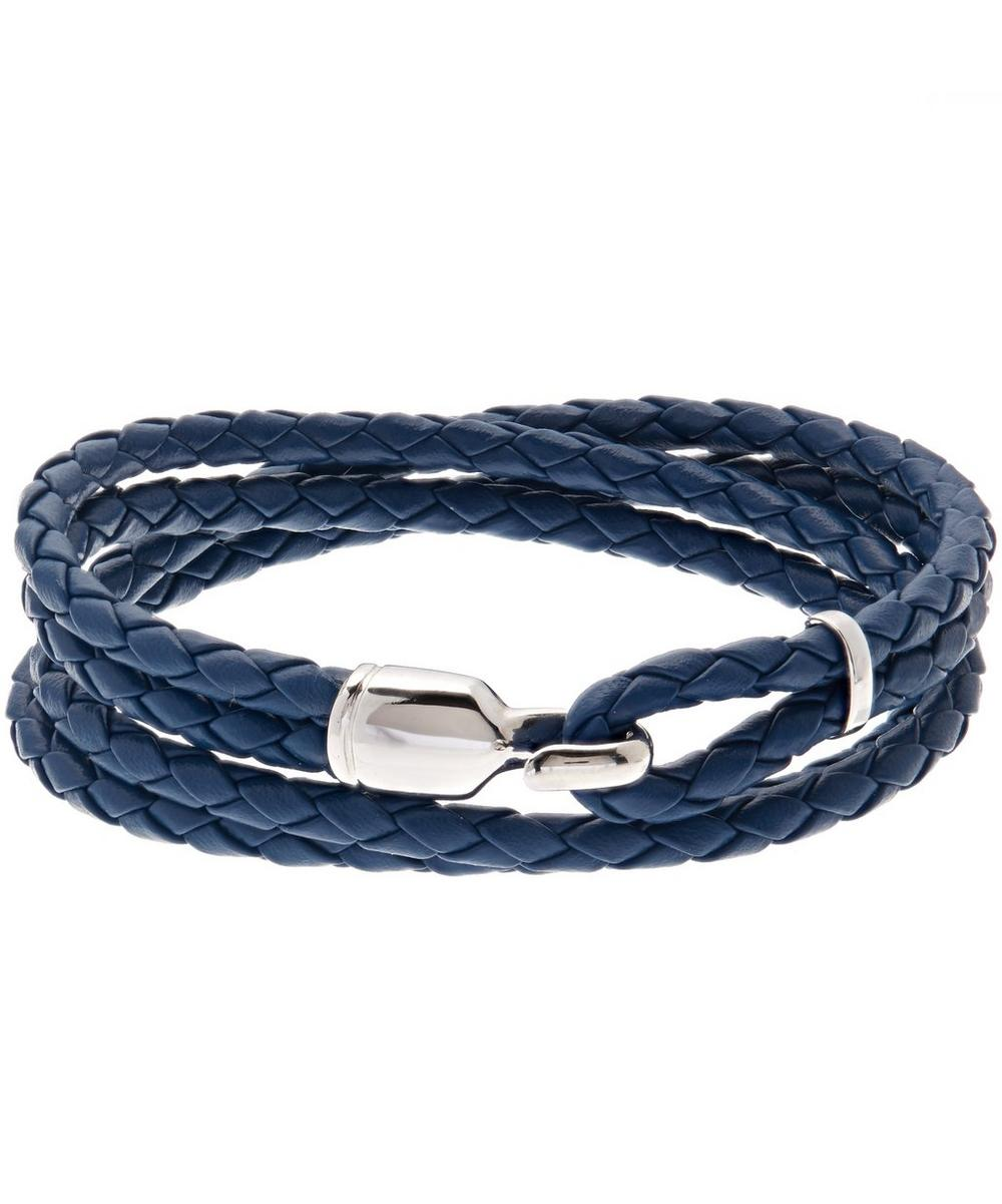 MIANSAI Trice Braided Leather & Sterling Silver Bracelet in Blue