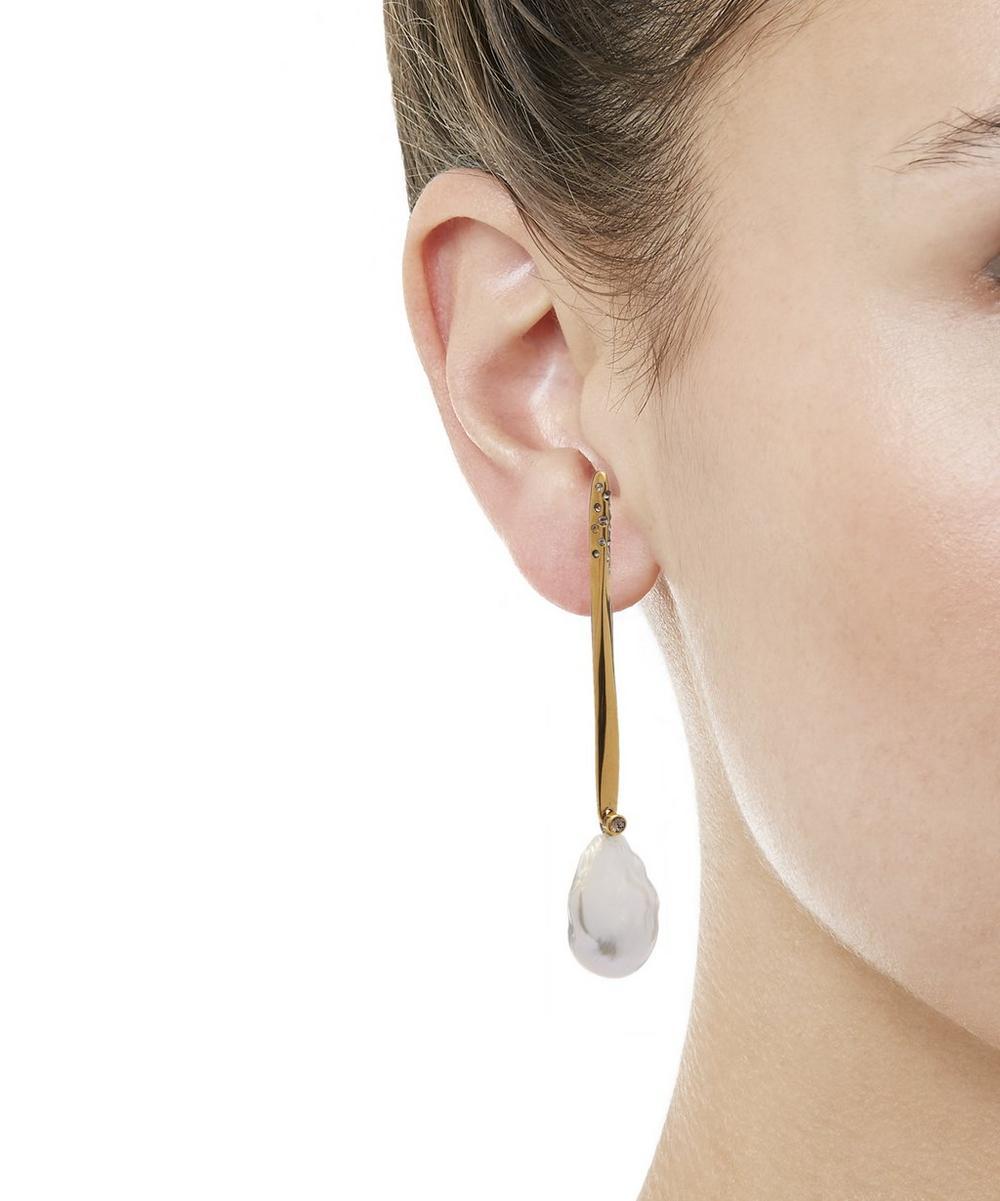 Gold-Tone Stick Pearl Earrings