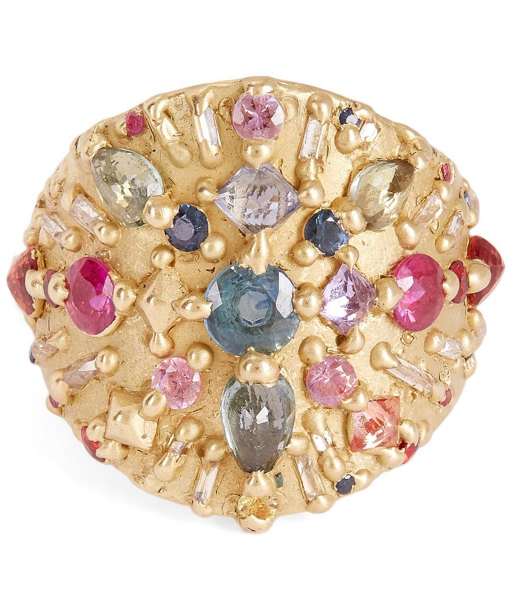 POLLY WALES GOLD OURIKA SHIELD MULTI-STONE RING