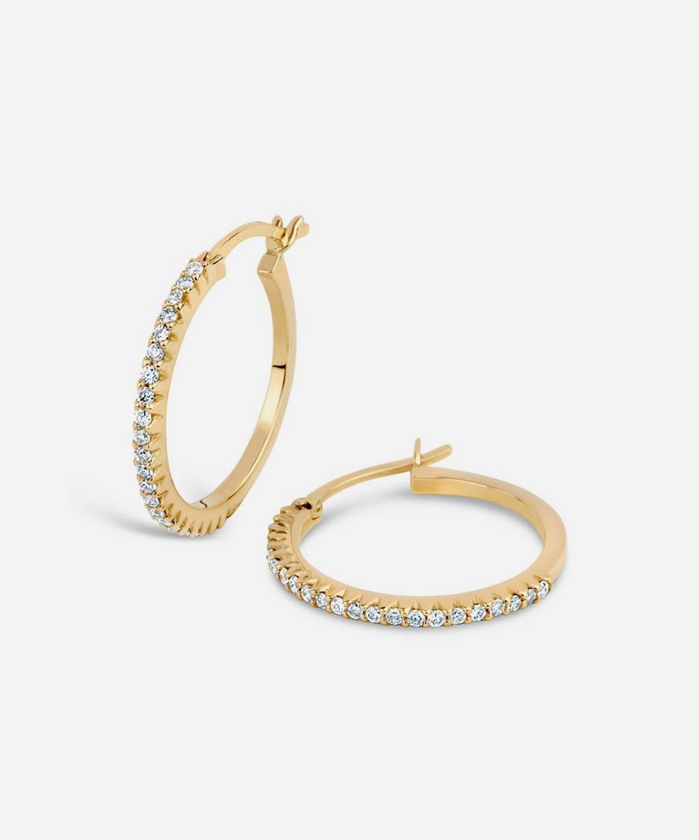 Dinny Hall - 14ct Gold Bijou Micro-Set Diamond Hoop Earrings