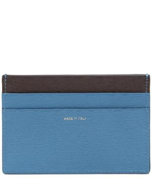 Straw-Grained Contrast Leather Card Holder