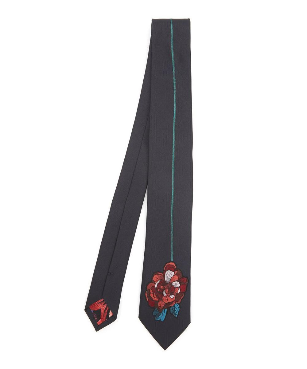 PAUL SMITH FLORAL EMBROIDERY NARROW SILK TIE