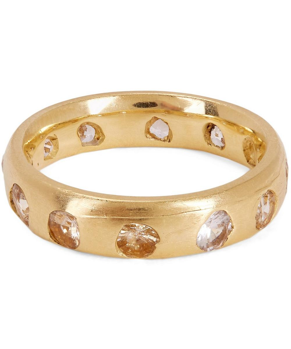 POLLY WALES GOLD CELESTE WHITE SAPPHIRE CRYSTAL RING