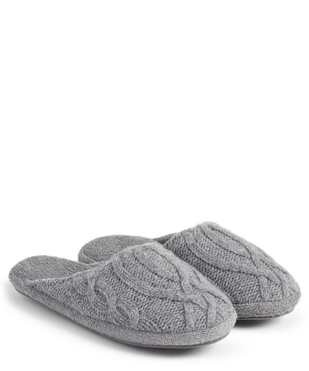 SOHO HOME HARRISON CABLE KNIT SLIPPERS