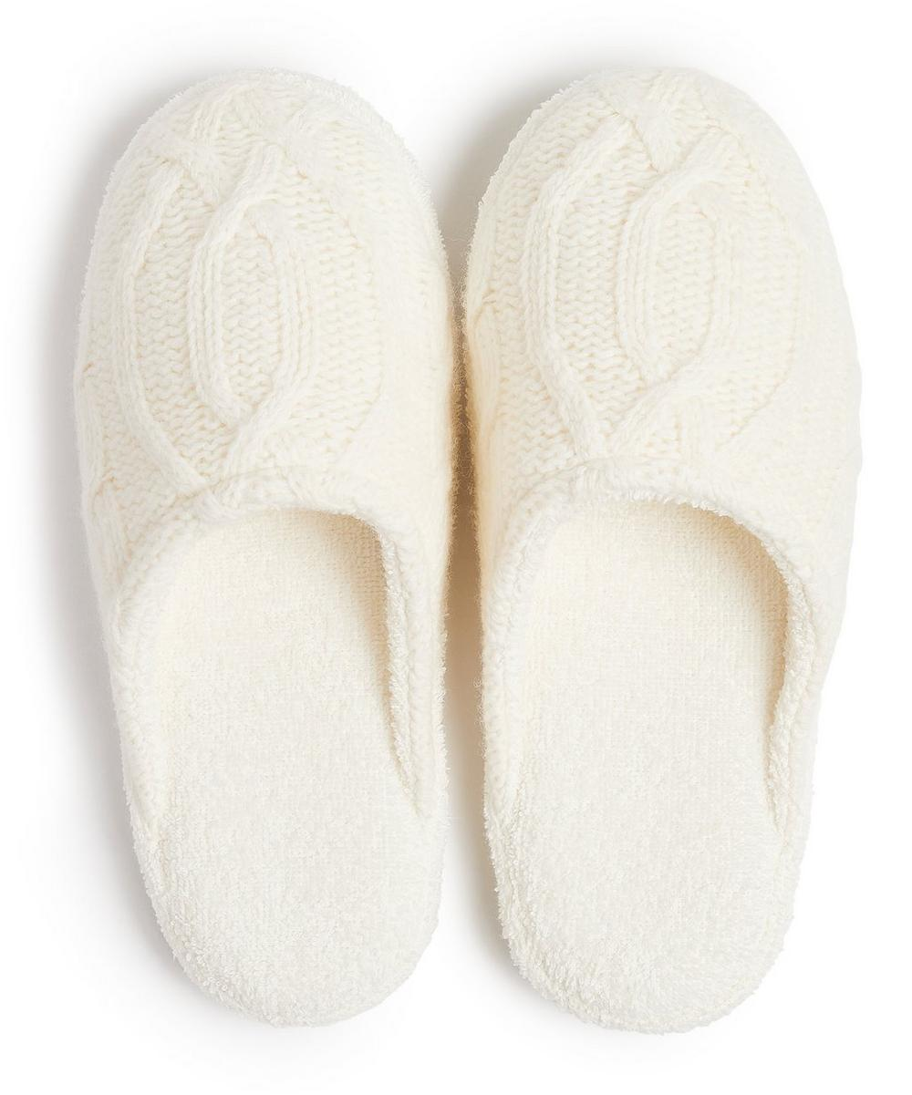 Harrison Cable Knit Slippers in Small