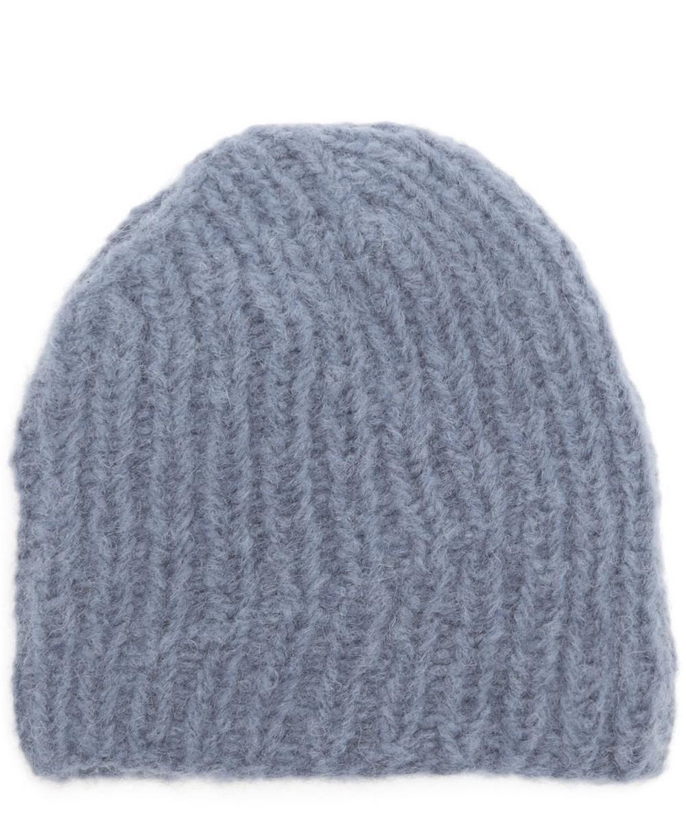 KARAKORAM Misti Line Knitted Wool-Blend Beanie Hat in Blue