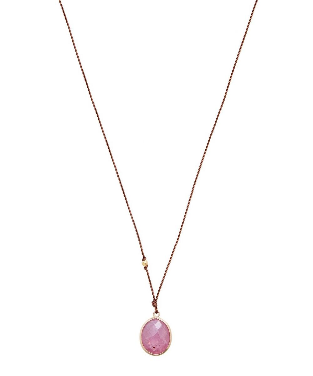 MARGARET SOLOW PINK SAPPHIRE GOLD PENDANT NECKLACE