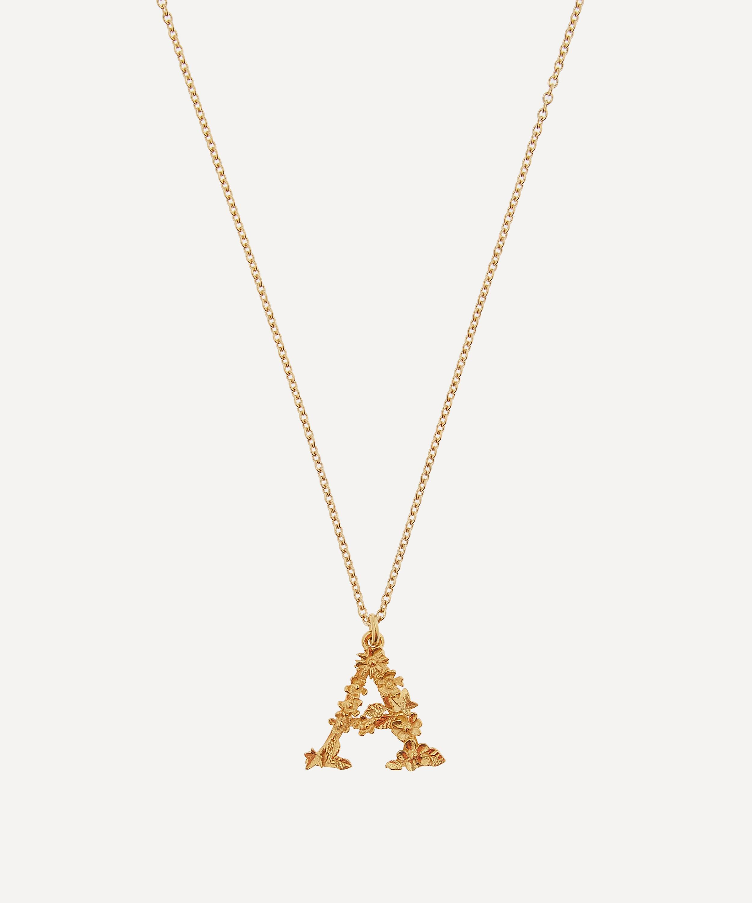 e3f62f8a28 Gold-Plated Floral Letter A Alphabet Necklace | Liberty London