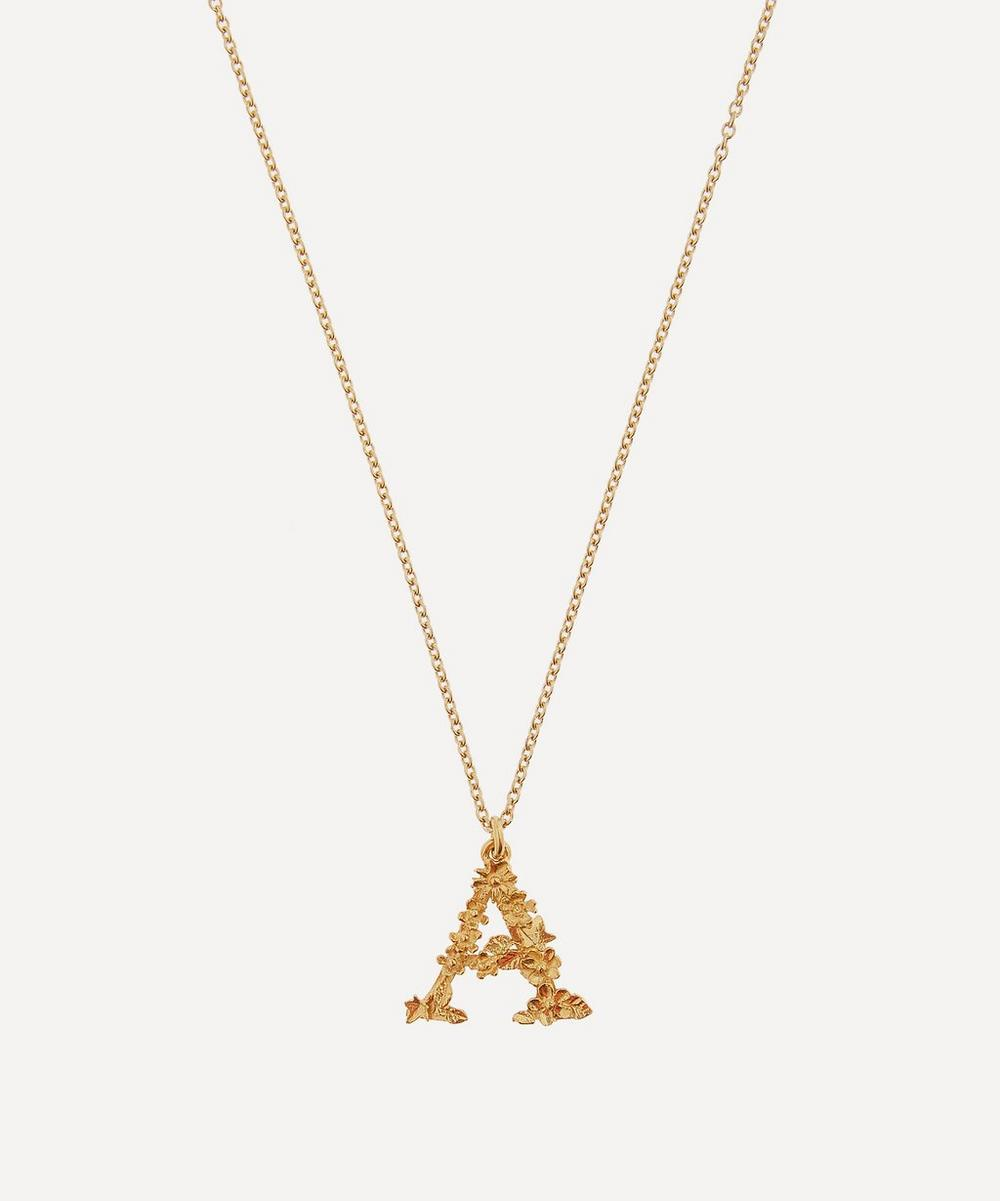 Gold-Plated Floral Letter A Alphabet Necklace