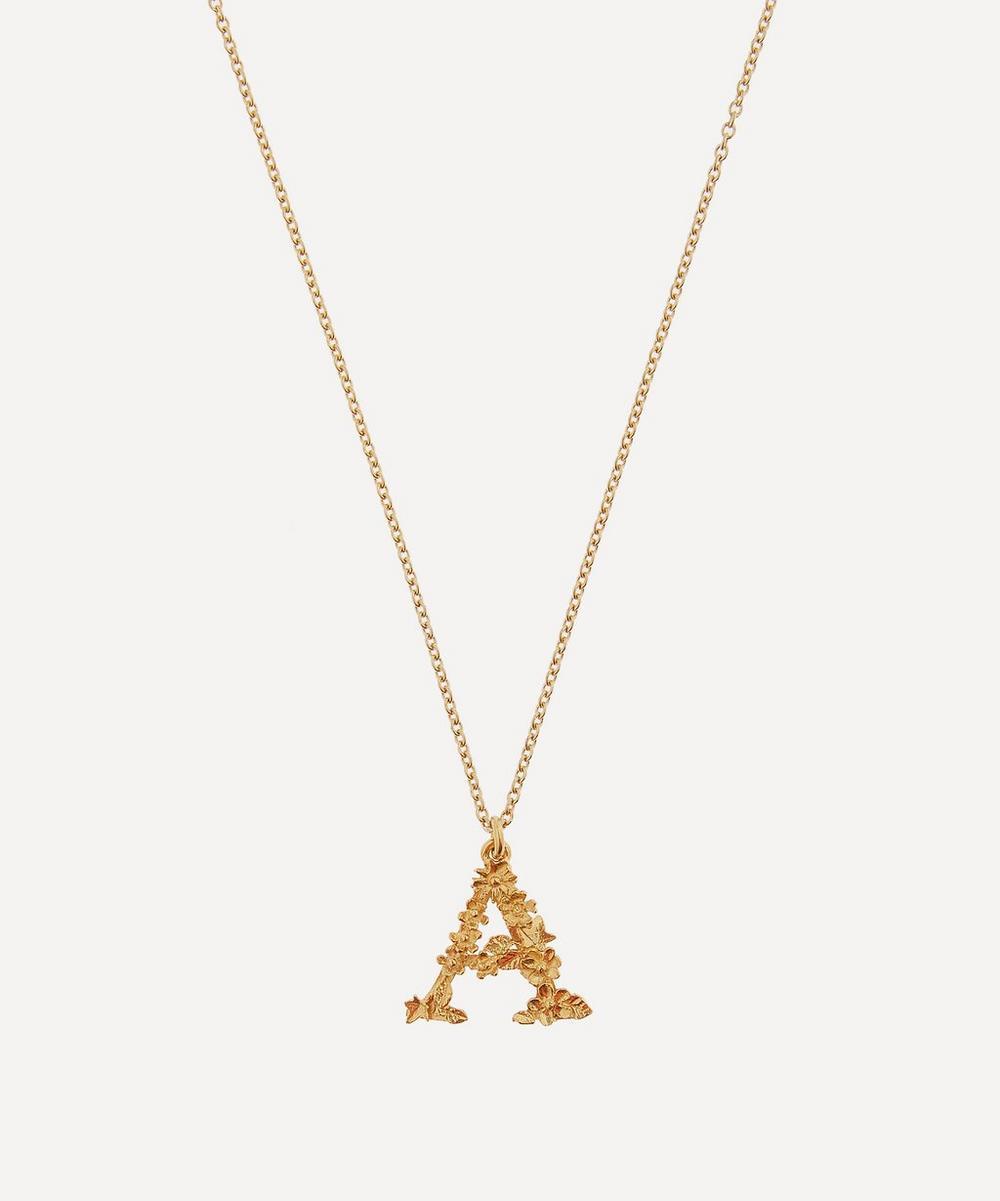 Alex Monroe - Gold-Plated Floral Letter A Alphabet Necklace