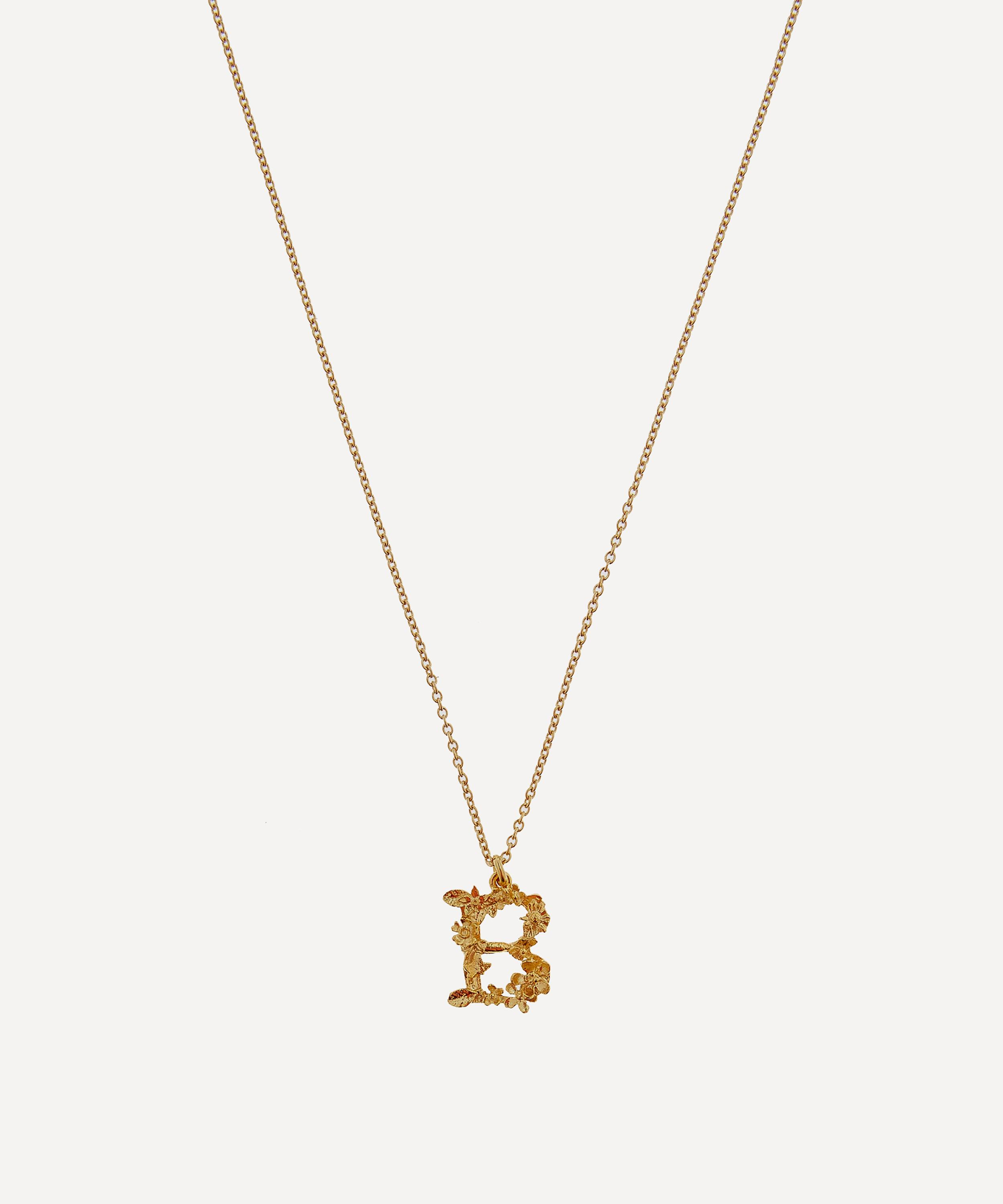 gold plated floral letter b alphabet necklace