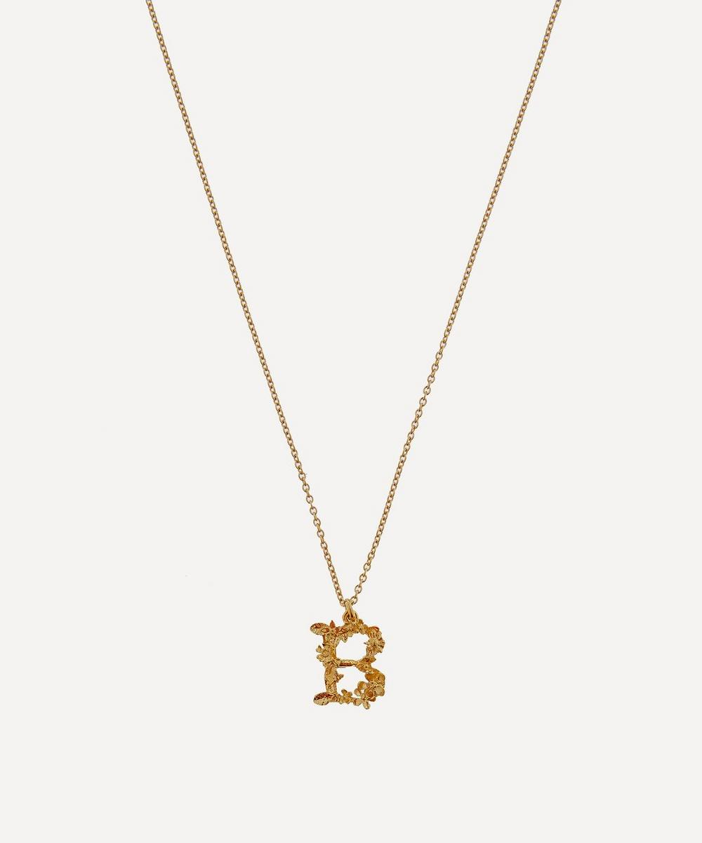 ALEX MONROE Gold-Plated Floral Letter B Alphabet Necklace
