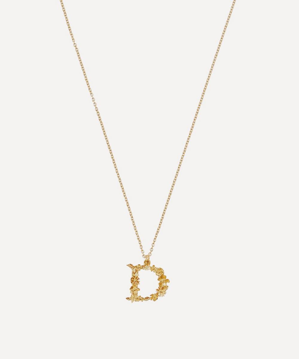 ALEX MONROE Gold-Plated Floral Letter D Alphabet Necklace