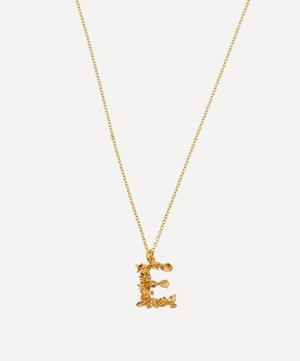 Gold-Plated Floral Letter E Alphabet Necklace