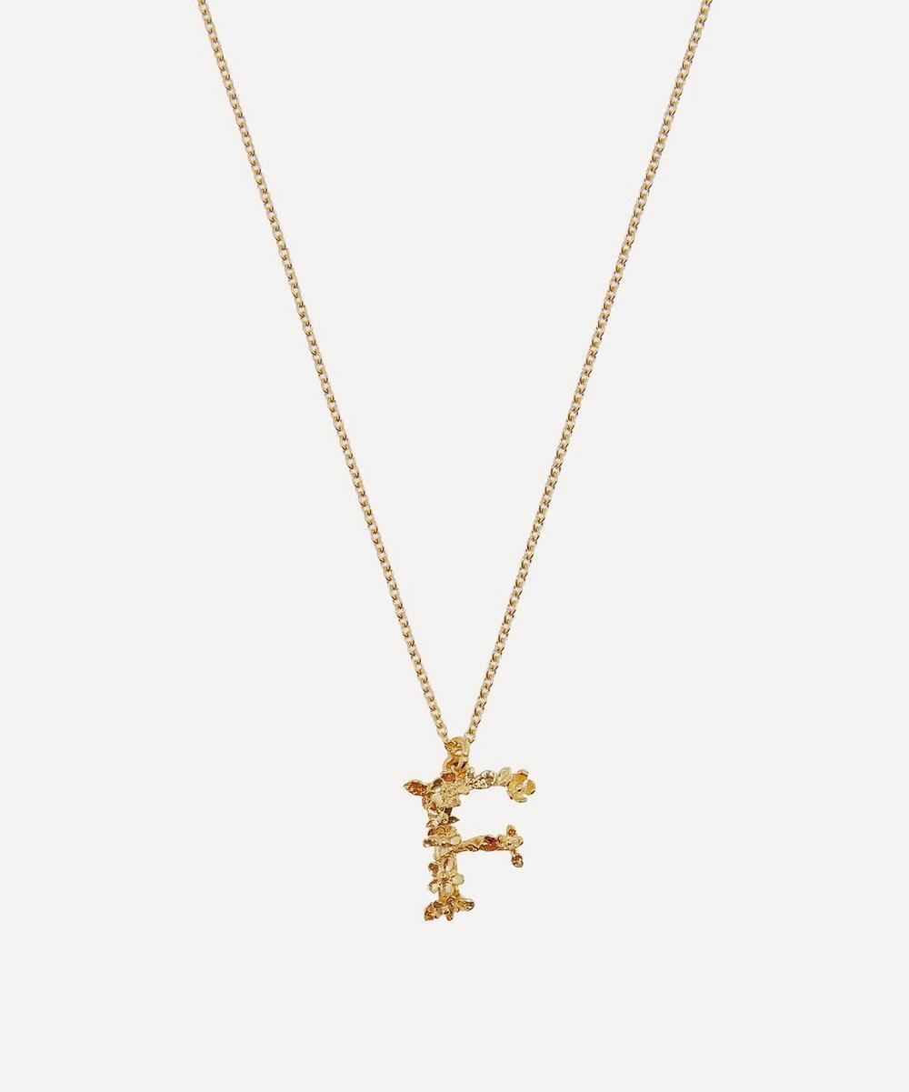 Alex Monroe - Gold-Plated Floral Letter F Alphabet Necklace