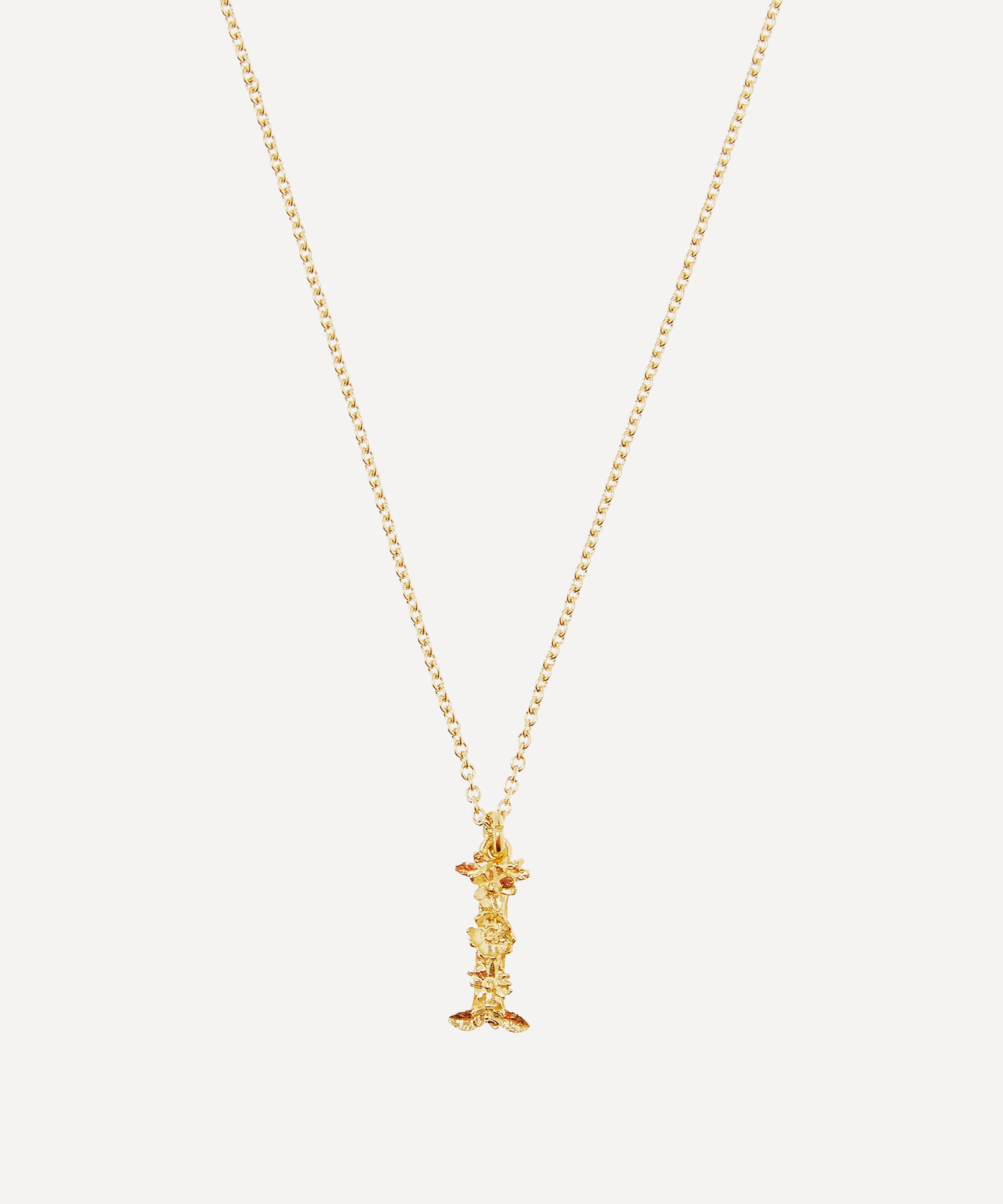 3c0e16fc87 Gold-Plated Floral Letter I Alphabet Necklace | Liberty London