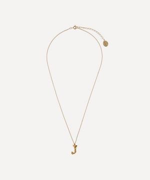 Gold-Plated Floral Letter J Alphabet Necklace