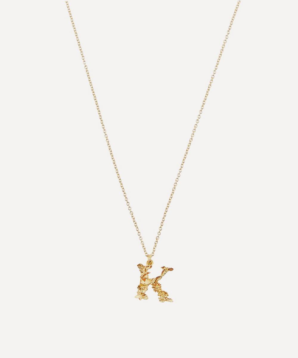 Alex Monroe - Gold-Plated Floral Letter K Alphabet Necklace