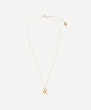 Gold-Plated Floral Letter K Alphabet Necklace