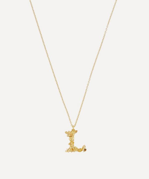 Gold-Plated Floral Letter L Alphabet Necklace