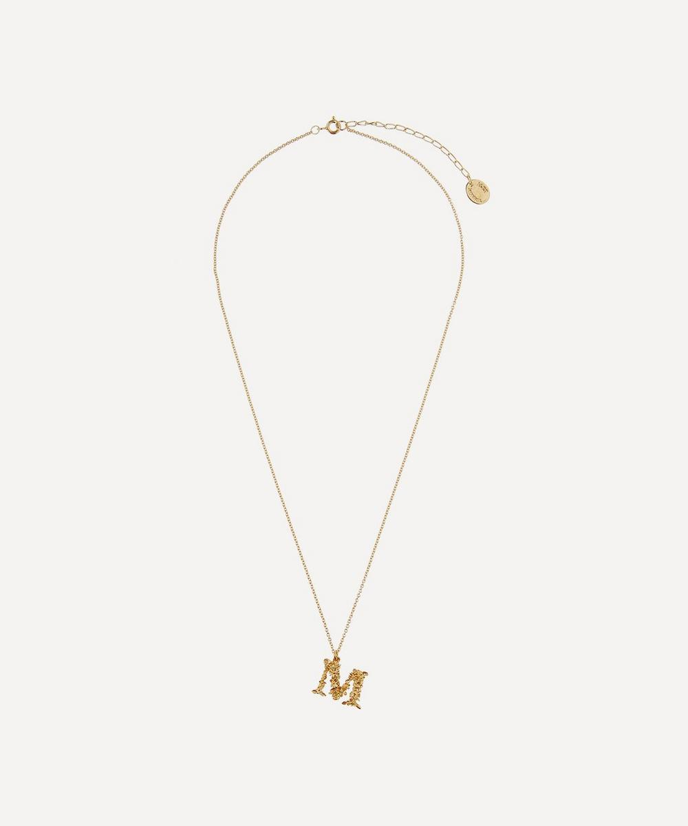 Gold-Plated Floral Letter M Alphabet Necklace