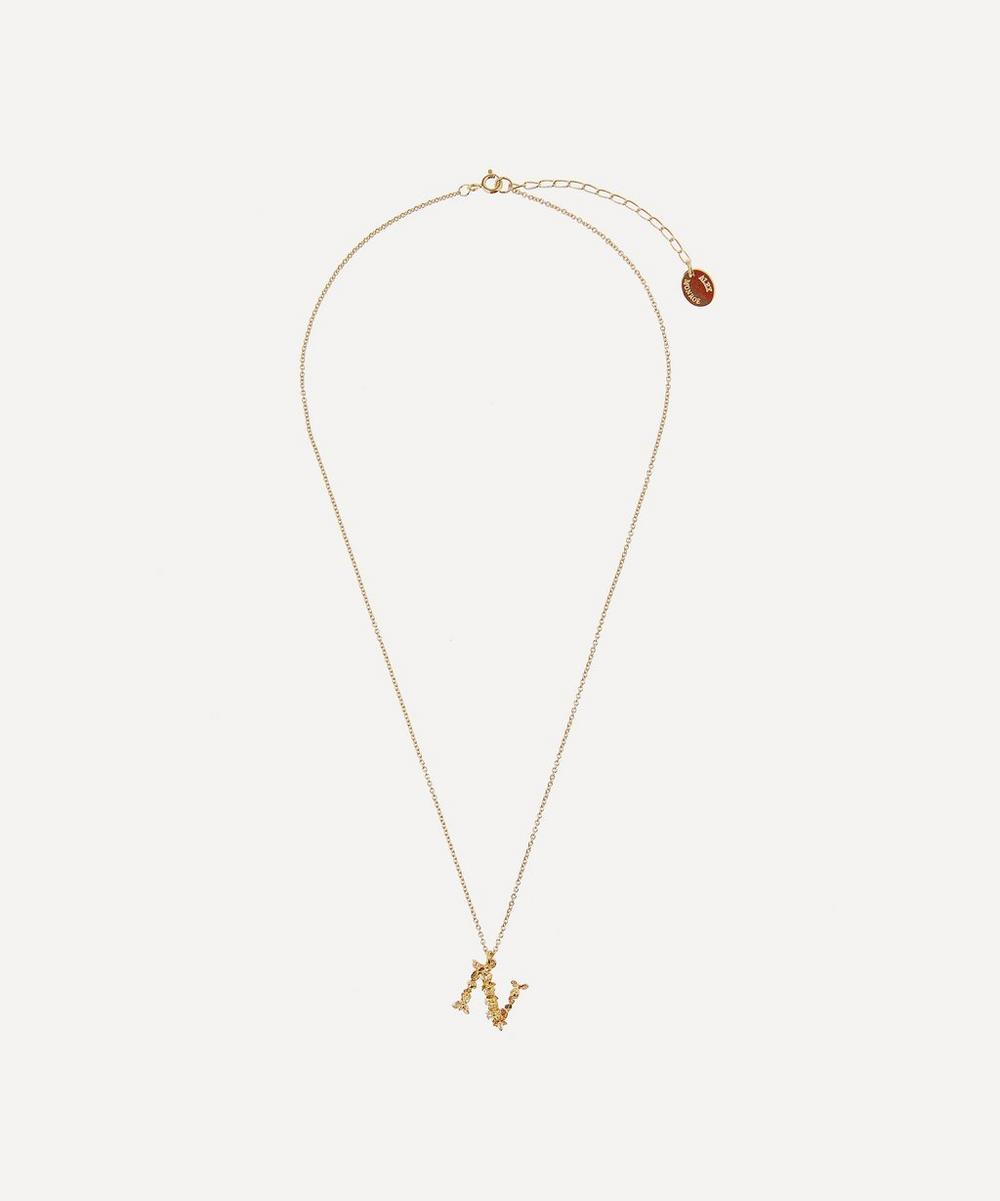Gold-Plated Floral Letter N Alphabet Necklace