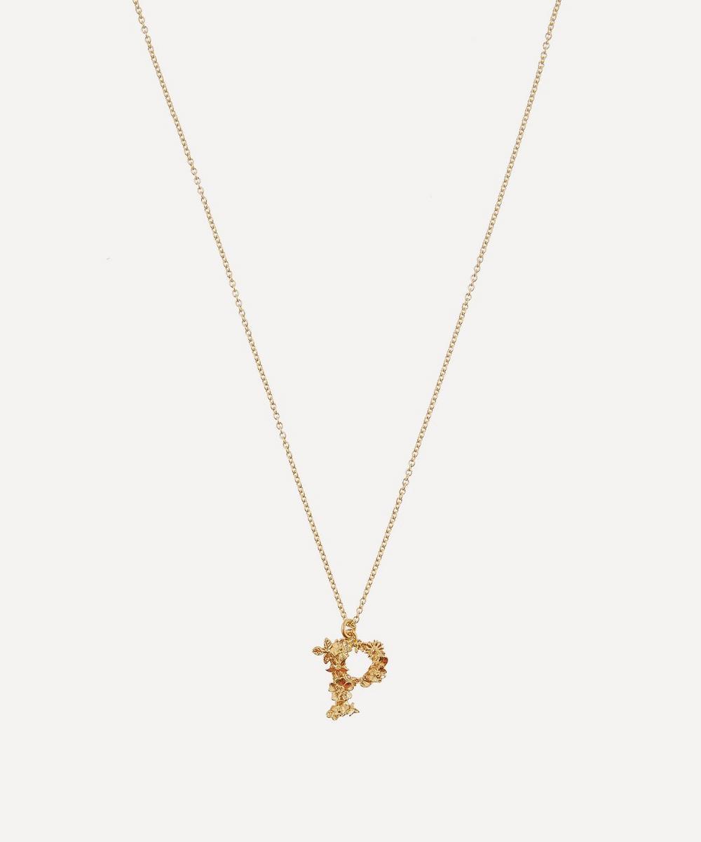 Gold-Plated Floral Letter P Alphabet Necklace