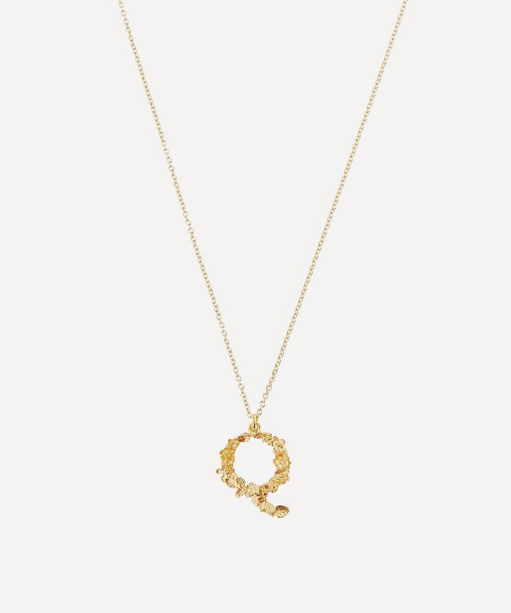 Gold-Plated Floral Letter Q Alphabet Necklace