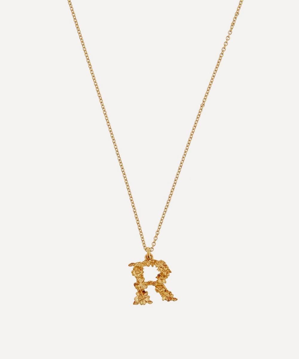 ALEX MONROE Gold-Plated Floral Letter R Alphabet Necklace