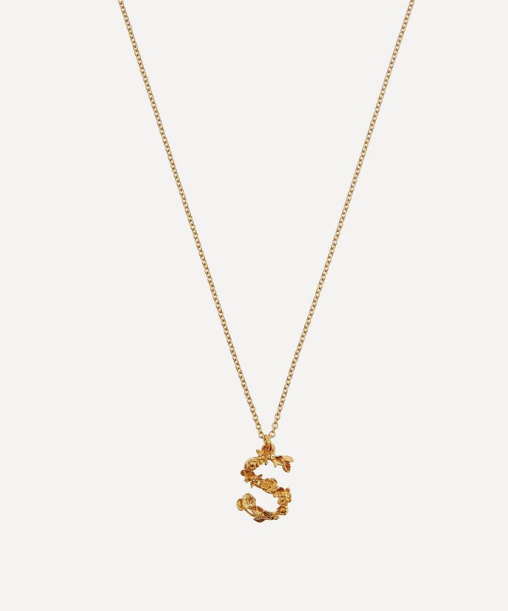 Alex Monroe - Gold-Plated Floral Letter S Alphabet Necklace