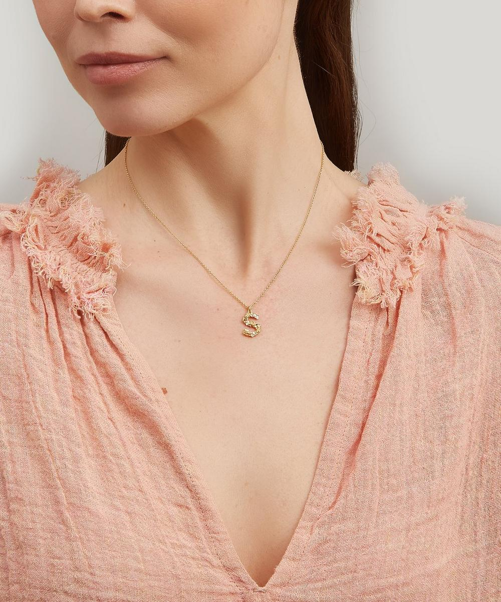Gold-Plated Floral Letter S Alphabet Necklace
