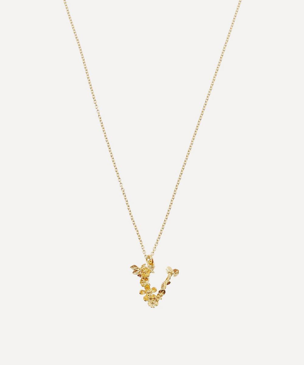 ALEX MONROE Gold-Plated Floral Letter V Alphabet Necklace