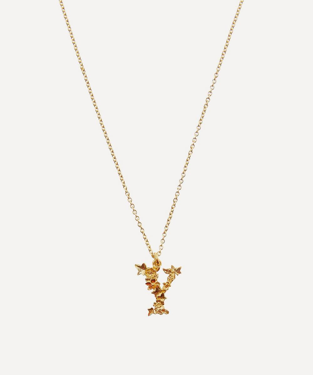 ALEX MONROE Gold-Plated Floral Letter Y Alphabet Necklace