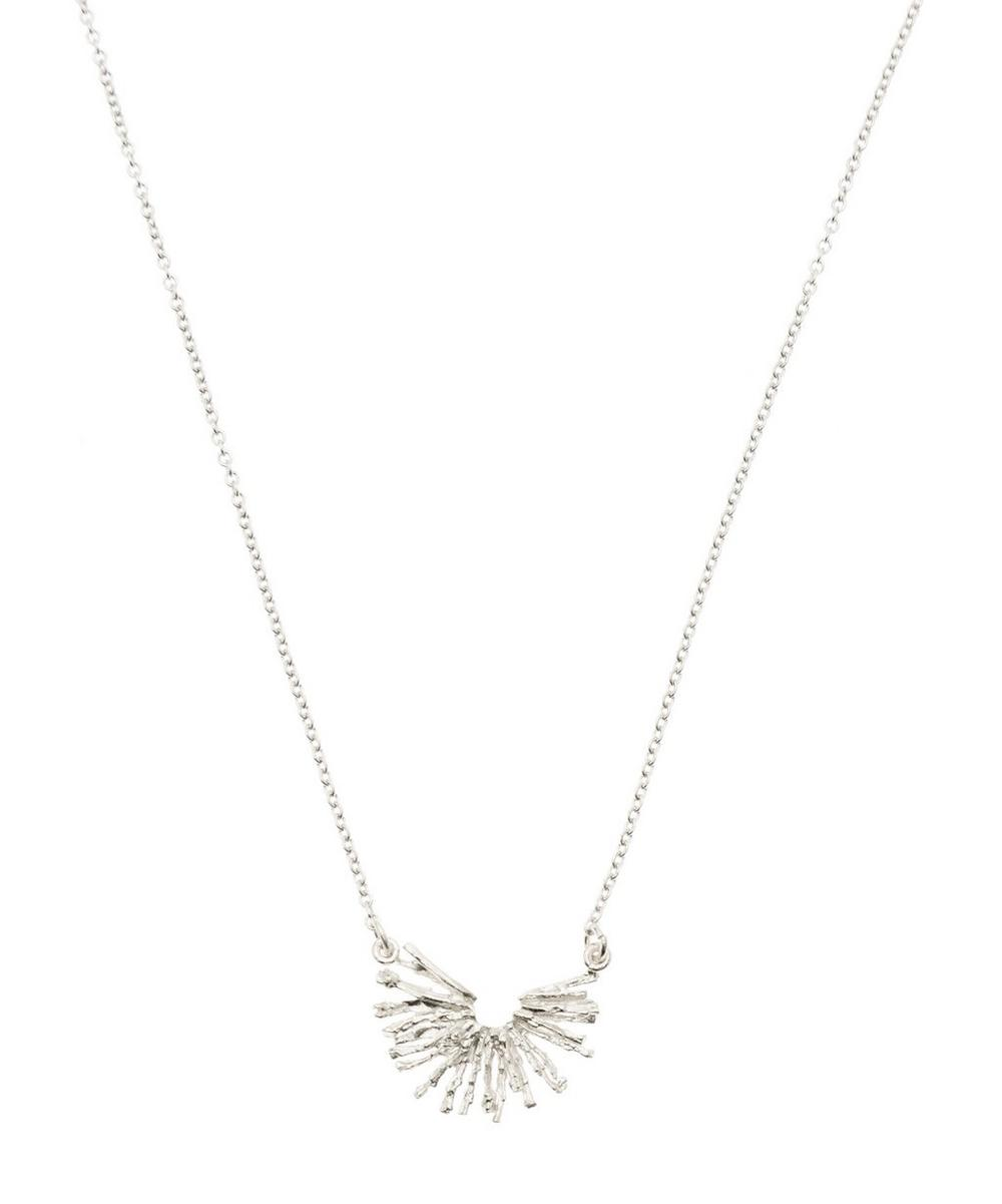 ALEX MONROE SILVER NEST STRUCTURE HALF CIRCLE NECKLACE