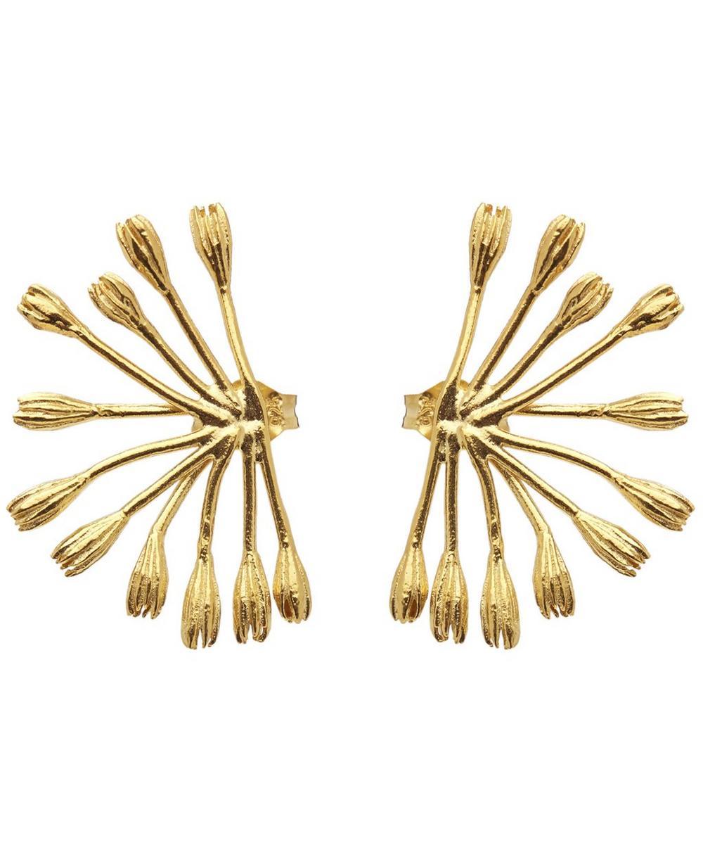 ALEX MONROE Gold-Plated Fanned Seed Pod Stud Earrings