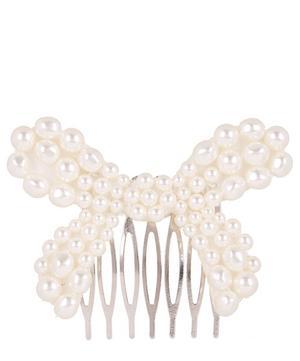 Faux Pearl Bow Hair Slide