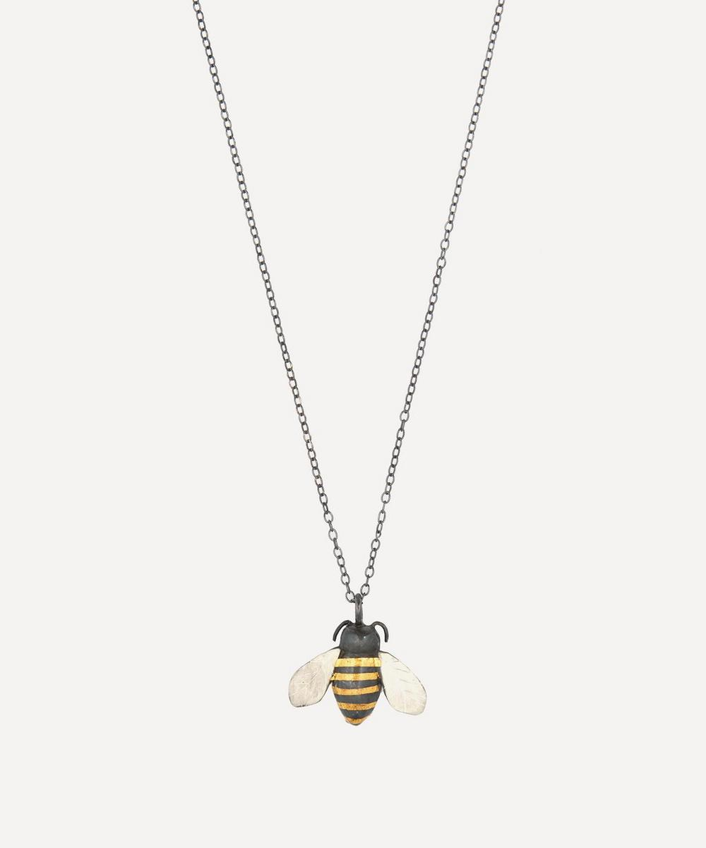 ACANTHUS Oxidised Silver Bumble Bee Pendant Necklace, Gold